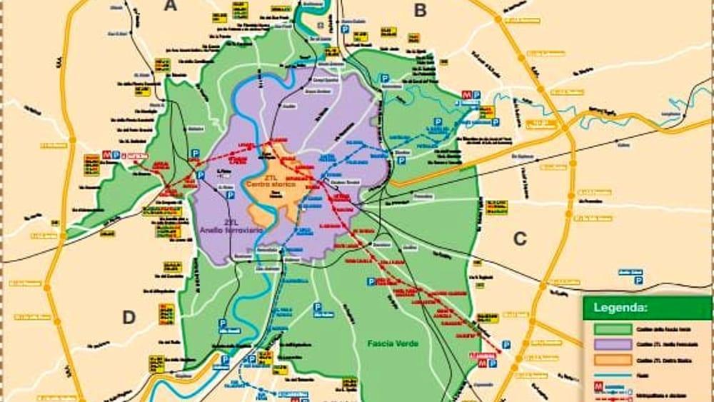 Cartina Ztl Roma.La Mappa Della Fascia Verde A Roma